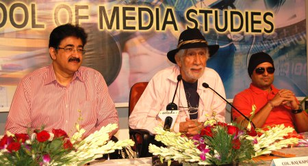 """""""Lots of patients, sincere and continuous efforts and strong determination can bring extra ordinary results in media"""" said Col. Raj Kapoor writer, director, and actor (Fauji Fame) while answering to the large questions of media students of Asian School of Media Studies at Noida Film city. """"We are thankful to the members of film and television fraternity who all are always ready to share their experience with the young film makers from the platform of AAFT """" thanked Sandeep Marwah President of Marwah Studios. Later a music album- """"Gupt"""" was released by Sandeep Marwah produced by Tips, directed by DJ Sheizwood and performed by Kashish Khan in the presence of large young audience. Sandeep Marwah honored the entire guest including Sonu Thukral with the life membership of International Film And Television Club of AAFT."""