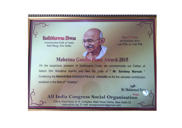 Mahatma Gandhi Peace Award to Sandeep Marwah
