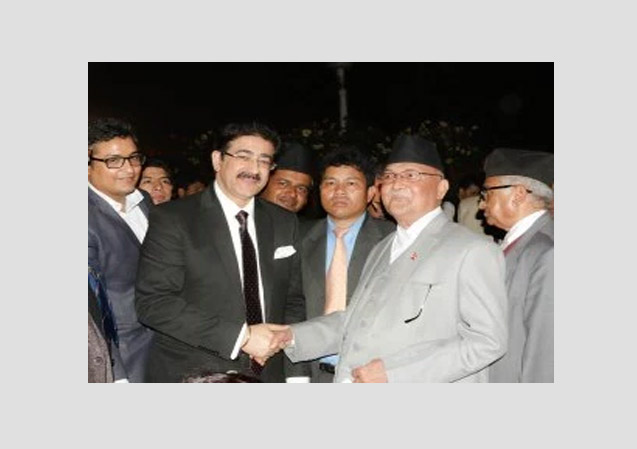 Sandeep Marwah With Prime Minister of Nepal