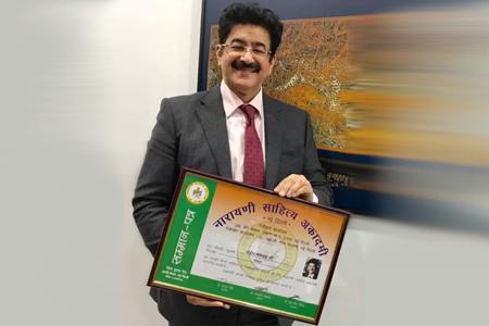 Sandeep Marwah Honored With Narayani Sahitya Academy Award