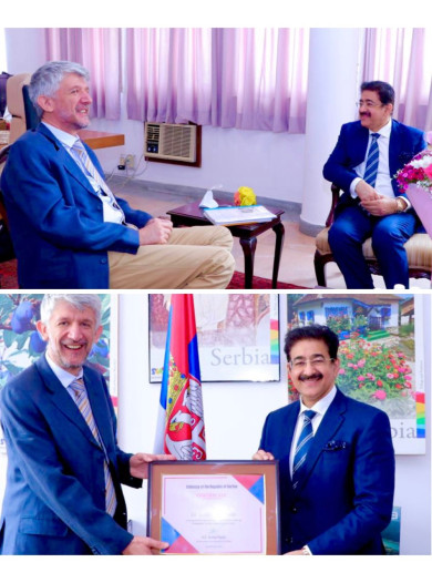 Sandeep Marwah Awarded by Embassy of Serbia