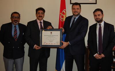 Sandeep Marwah Honored Ambassador of Serbia With IFTC Membership